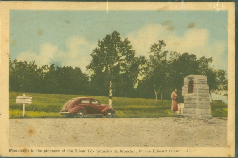 Monument to the Pioneers of the Silver Fox Industry at Alberton, PEI Postcard