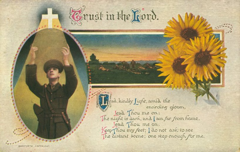 Soldier and Religious Verse Postcard